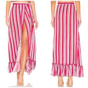 NWT Lovers + Friends Striped Pom Pom Maxi Skirt